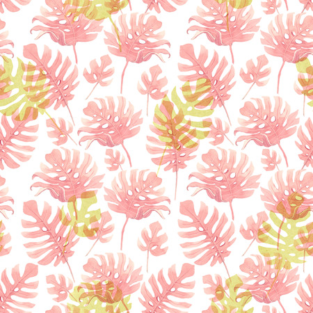 Watercolor tropical palm leaf pattern