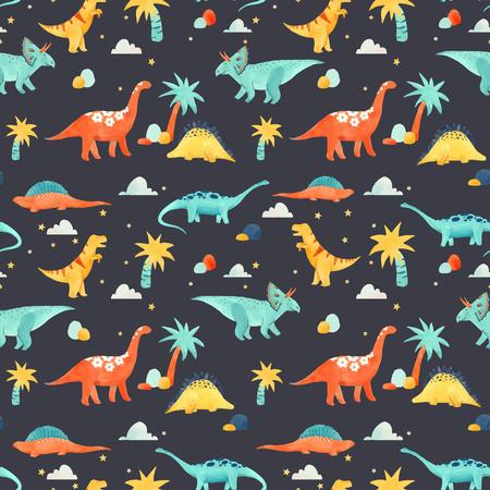 Watercolor dinosaur baby vector pattern 스톡 콘텐츠