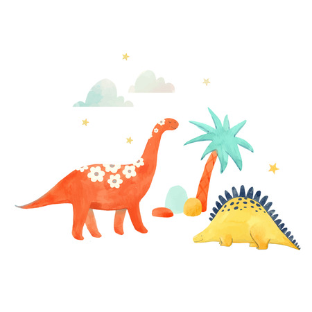 Beautiful vector baby illustration with watercolor hand drawn dinosaurs Illustration