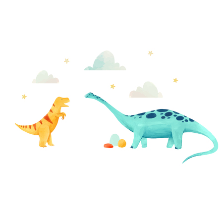 Beautiful vector baby illustration with watercolor hand drawn dinosaurs 向量圖像