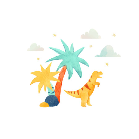 Beautiful vector baby illustration with watercolor hand drawn dinosaurs Ilustrace