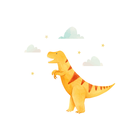 Beautiful vector baby illustration with watercolor hand drawn dinosaurs Ilustração