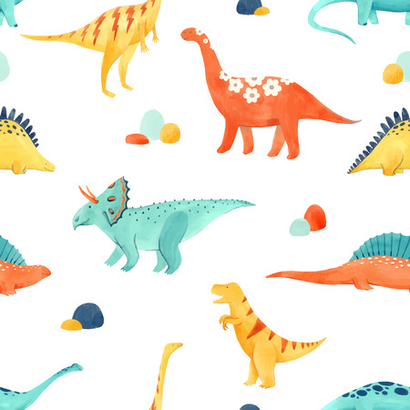 Beautiful vector baby seamless pattern with watercolor dinosaurs 일러스트