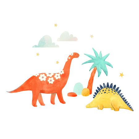 Watercolor dinosaur illustrtion 版權商用圖片