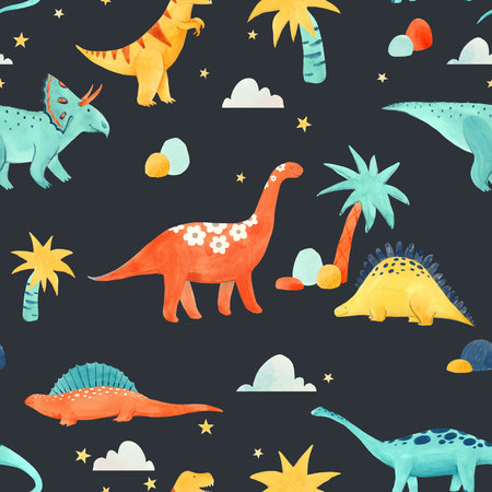Beautiful baby seamless pattern with watercolor dinosaurs Stock fotó