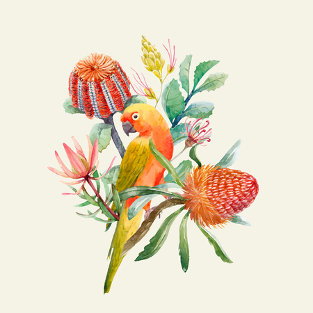 Beautiful vector tropical composition with watercolor parrots and flowers