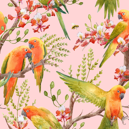 Watercolor tropical parrots
