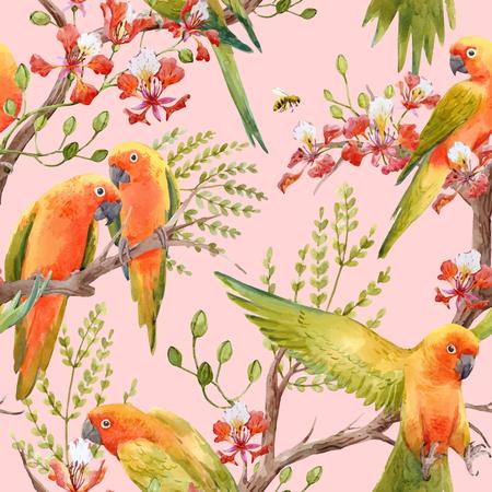 Watercolor tropical parrots