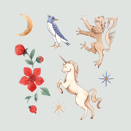 Beautiful vector set with watercolor hand drawn medieval illustrations