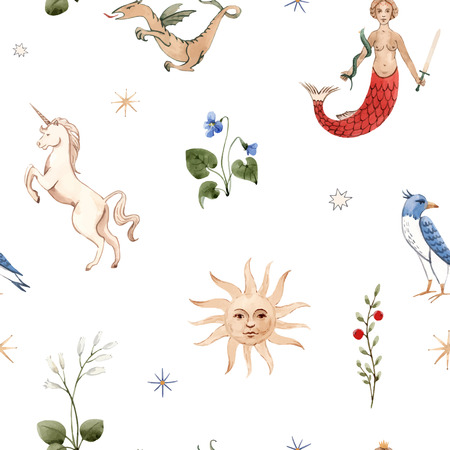 Beautiful vector seamless pattern with watercolor medieval illustrations 向量圖像