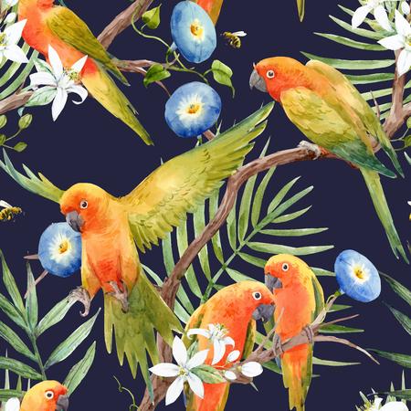 Watercolor tropical parrots vector pattern