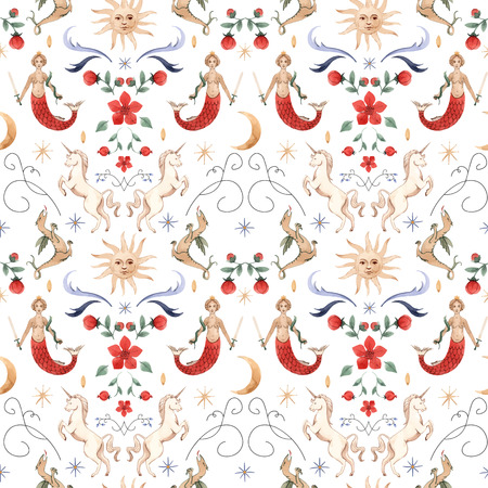 Beautiful vector seamless pattern with watercolor medieval illustrations Stock Illustratie