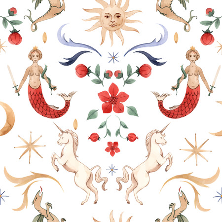 Beautiful vector seamless pattern with watercolor medieval illustrations 일러스트