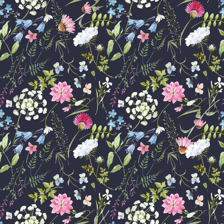 Beautiful vector seamless pattern with hand drawn watercolor flowers 일러스트