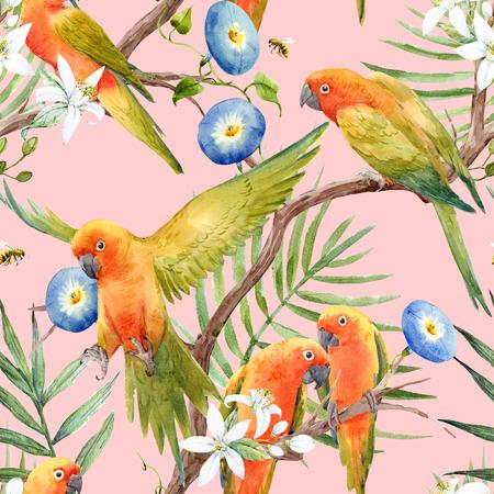 Watercolor tropical parrots pattern