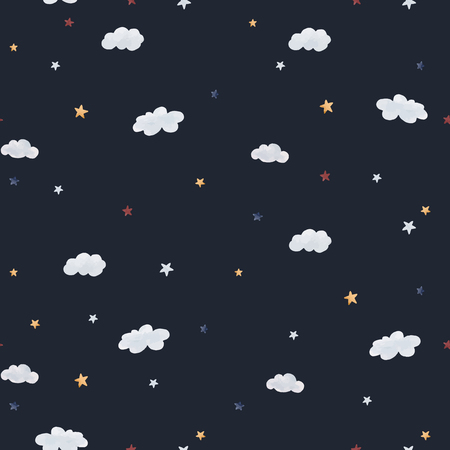 Beautiful baby seamless pattern with watercolor clouds and stars