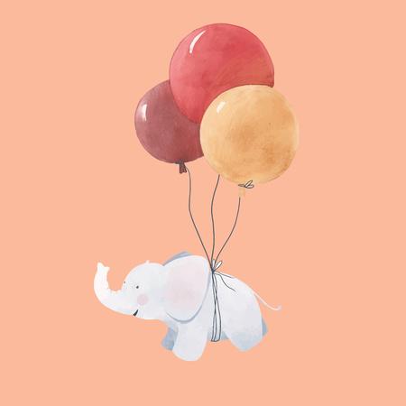 Watercolor baby elephant illustration 스톡 콘텐츠