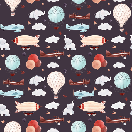 Beautiful baby seamless pattern with watercolor air baloon plane airship Stok Fotoğraf - 122039063