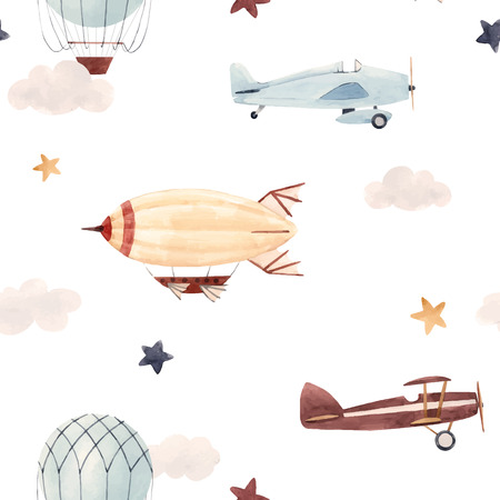 Watercolor aircraft baby pattern Иллюстрация