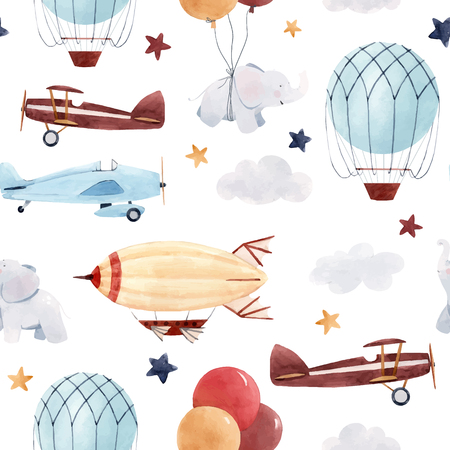 Watercolor aircraft baby pattern Stock Illustratie