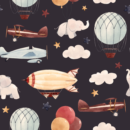 Watercolor aircraft baby pattern Ilustracja