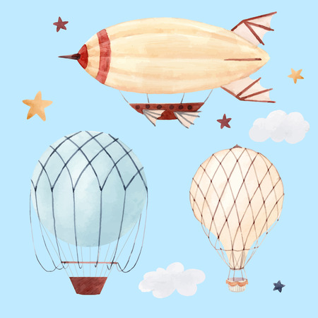 Beautiful illustration with watercolor air baloon and airship for babies