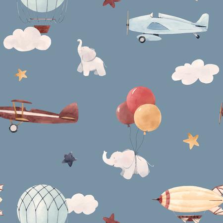 Beau modèle sans couture de bébé avec le dirigeable d'avion de ballon d'air d'aquarelle