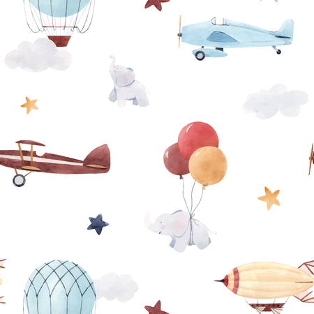 Beautiful baby seamless pattern with watercolor air baloon plane airship Ilustração Vetorial