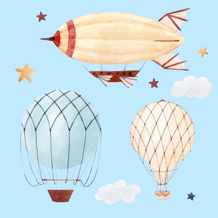 Watercolor air baloon illustration Stock Photo
