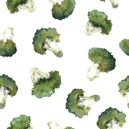 Beautiful vector seamless pattern with hand drawn watercolor broccoli