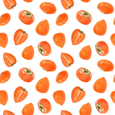 Beautiful vector seamless pattern with hand drawn watercolor persimmon