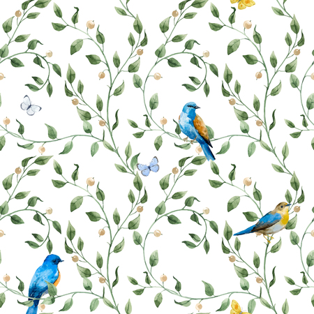 Beautiful seamless vector pattern with hand drawn watercolor flowers and birds