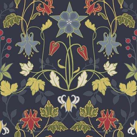 Beautiful pattern with flowers in modern art nouveau  retro vintage style