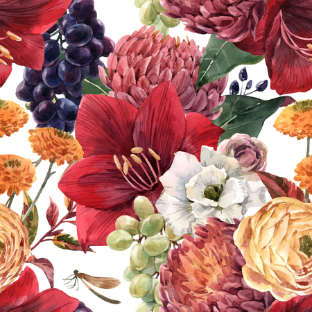 Beautiful vector seamless pattern with hand drawn watercolor flowers Иллюстрация