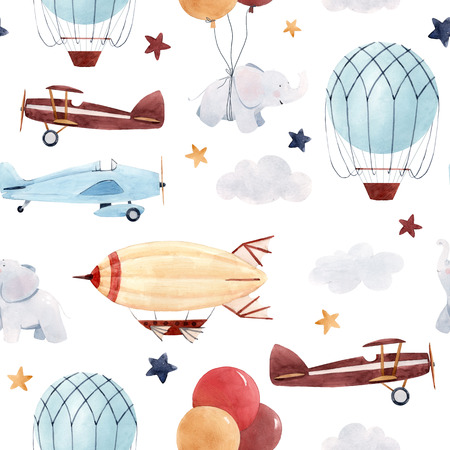 Watercolor aircraft baby pattern Stock Photo