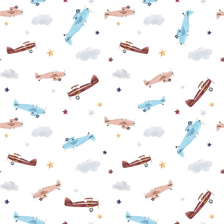 Watercolor aircraft baby pattern 写真素材