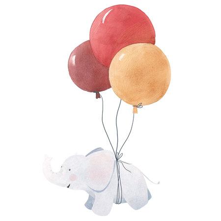 Watercolor baby elephant illustration Stockfoto
