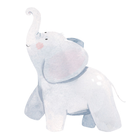 Watercolor baby elephant illustration 写真素材