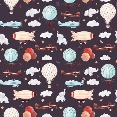 Watercolor aircraft baby pattern Stock fotó
