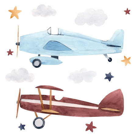 Watercolor aircraft illustration