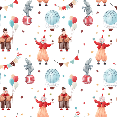 Beautiful vector seamless pattern with circus illustrations clowns and animals Çizim