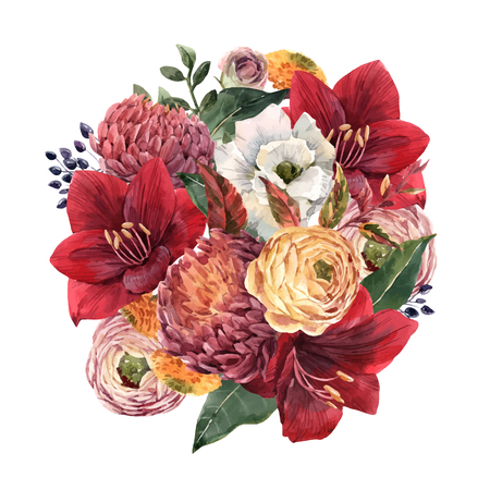 Beautiful vector watercolor hand drawn floral composition illustration Ilustrace
