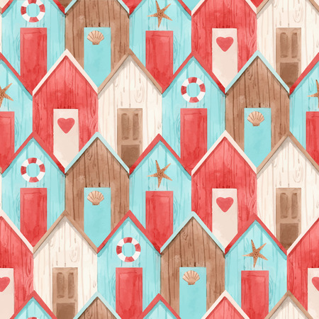 Beautiful vector seamless pattern with hand drawn watercolor houses 일러스트