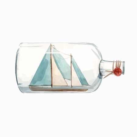 Beautiful vector illustration of hand drown watercolor ship in bottle