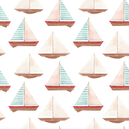 Watercolor marine vector pattern