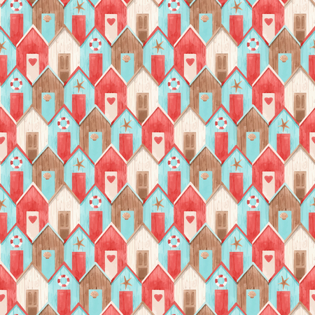 Beautiful vector seamless pattern with hand drawn watercolor houses Standard-Bild - 122039107