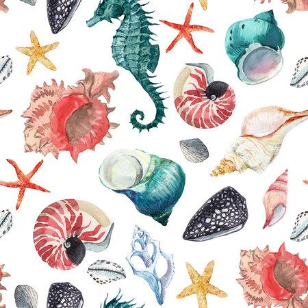 Watercolor sea life pattern Stockfoto