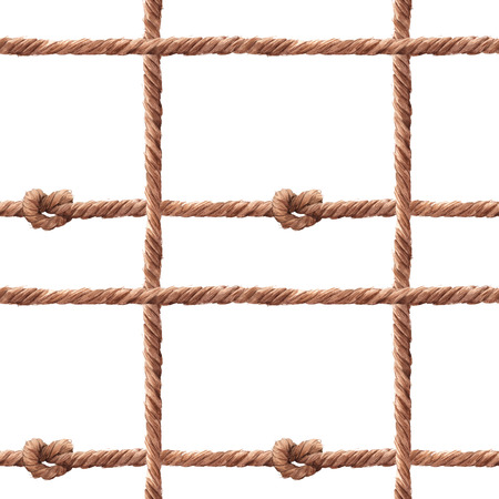 Watercolor rope fishing net pattern