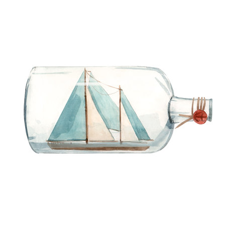 Watercolor ship in bottle illustration 写真素材