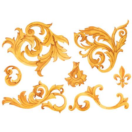 Elementi di lusso ricchi di ornamento rococò modello barocco dorato di vettore dell'acquerello